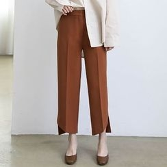 ELLY - Asymmetrical Hem Straight Leg Pants