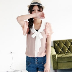 BAIMOMO - 领结带蕾丝拼接衬衫