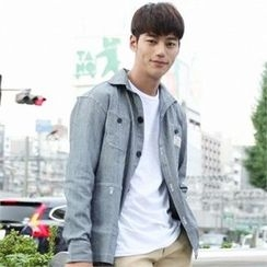 BYMONO - Multi-Pocket Buttoned Stripe Jacket