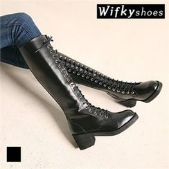 Wifky - Faux-Leather Lace-Up Long Boots