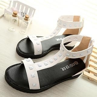 SouthBay Shoes - Studded T-Strap Low Wedge Sandals
