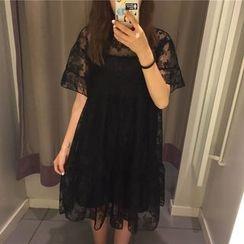 Cloud Nine - Set : Strap Dress + Short-Sleeve Lace Dress