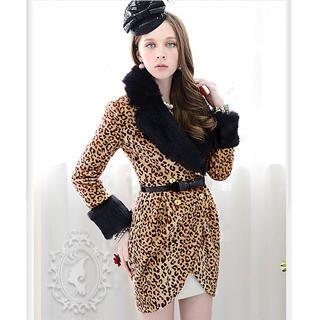 Dabuwawa - Faux-Fur Collar Leopard-Print Coat