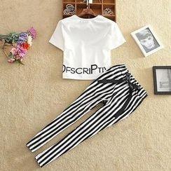 SIDO FASHION - Set: Lettering T-Shirt + Tie-Waist Striped Pants