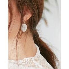FROMBEGINNING - Circle-Charm Dangle Earrings