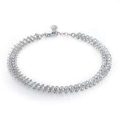 MaBelle - 14K White Gold Diamond Cut Double Rings Linked Bracelet, Women Jewelry in Gift Box