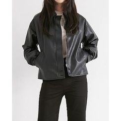Someday, if - Faux-Leather Zip-Up Jacket