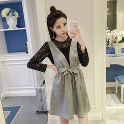 ever after - Set: Long-Sleeve Lace Top + V-neck Jumper Dress