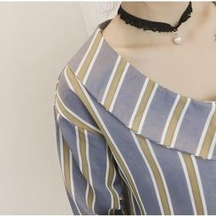 Octavia - 3/4-Sleeve Chiffon Striped Blouse
