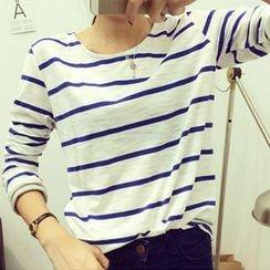 Clair Fashion - Striped Long-Sleeve T-Shirt
