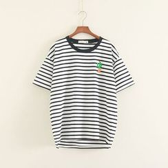 Mushi - Cactus Embroidered Striped Short Sleeve T-Shirt