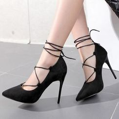Monde - Lace Up Pointed Pumps