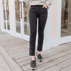 JOAMOM - Frayed-Hem Straight-Cut Jeans