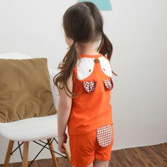 Lemony dudu - Kids Set : Animal Applique Tank Top + Shorts