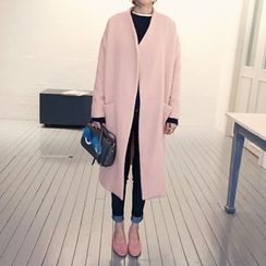 NANING9 - Collarless Open-Front Wool Blend Coat