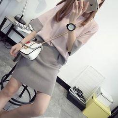 Pecora - 套装: 拼色七分袖毛衣 + 针织短裙