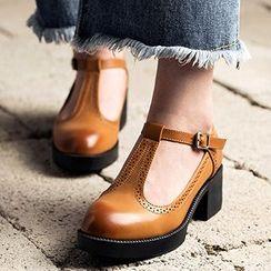MIAOLV - 粗跟T帶高跟鞋