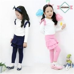 nanakids - Girls Set: Frill-Shoulder Top + Inset Skirt Leggings