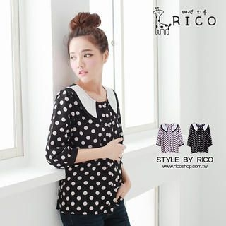 rico - 3/4 Sleeve Polka-Dot Blouse