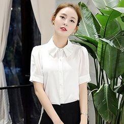 Romantica - Short-Sleeve Embellished-Neckline Blouse