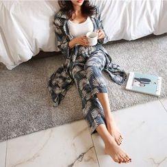 PPGIRL - Pajama Set: Floral Print Cardigan + Band-Waist Pants