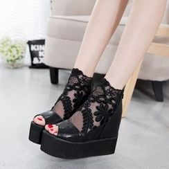 Wello - Lace Panel Platform Wedge Sandals