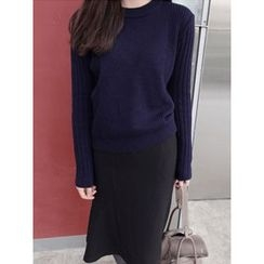 maybe-baby - Round-Neck Rib-Knit Sweater