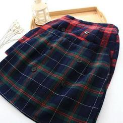 Moricode - 格子飾鈕扣裙