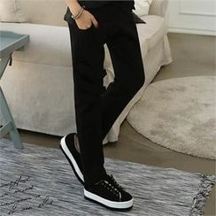CHICFOX - Drawstring Fleece-Lined Tapered Pants