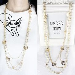 Ticoo - Faux Pearl Layered Necklace