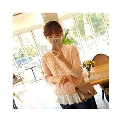LEELIN - Set: Open-Knit Sweater + Sleeveless Top