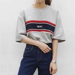 Eva Fashion - Elbow-Sleeve Lettering T-Shirt