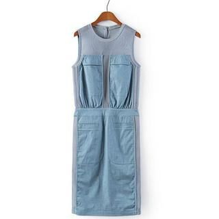 JVL - Sleeveless Mesh Denim Panel Dress