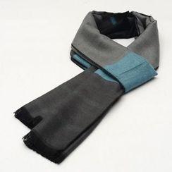 Romguest - Color-Block Stripe Fringed Scarf