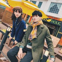Simpair - Couple Matching Notch Lapel Long Woolen Coat
