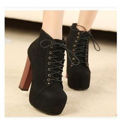 Monde - Block Heel Lace Up Ankle Boots