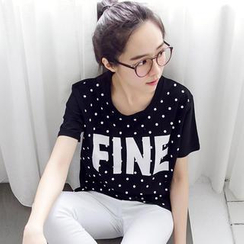 Tokyo Fashion - Short-Sleeve Dotted Lettering T-Shirt