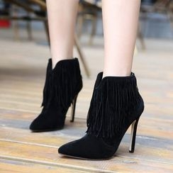 Monde - Fringed High-Heel Ankle Boots