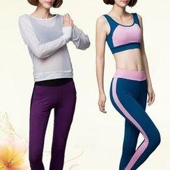 YANBOO - 套裝: 運動文胸 + 瑜伽褲 + 長袖網紗上衣