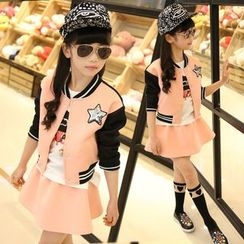 Pegasus - Kids Set: Star Sequined Color Panel Zip Jacket + Mini Skirt