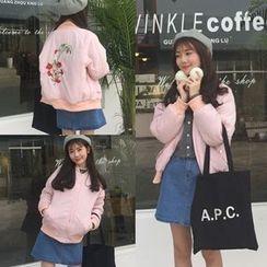 AMELA - Flower Embroidered Back Bomber Jacket