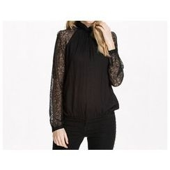 Richcoco - Lace Panel Mock Neck Chiffon Blouse