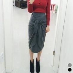 ANNINA - Tie-Front Midi Skirt