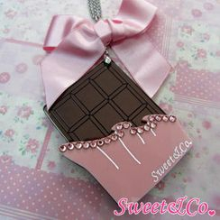 Sweet & Co. - Sweet XL Pink Ribbon Swarovski Crystal Choco Bar Long Necklace