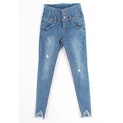 REDOPIN - Distressed Frey-Hem Jeans