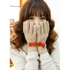 Dodostyle - Bow-Appliqué Knit Gloves