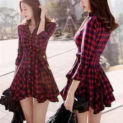 MayFair - Long-Sleeve Plaid Shirtdress