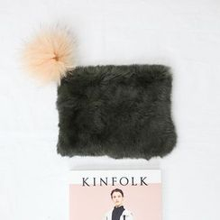 STYLEBYYAM - Pompom Accent Faux-Fur Clutch