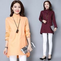 Yeeya - Frill Trim High Collar Long Shirt