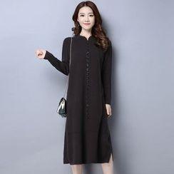 Piano Princess - Buttoned Long Sleeve Knit Dress